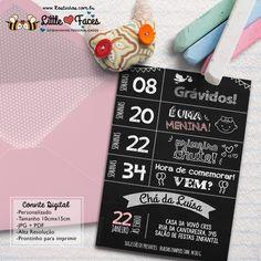 $35.00 Convite Chá de Bebê Chalkboard Lousa Para Imprimir