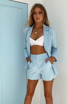 Cute Summer Outfits, Short Outfits, Classy Outfits, Outfits For Teens, Trendy Outfits, Cool Outfits, Fashion Outfits, Sneakers Fashion, Blue Shorts Outfit