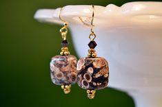 Snail Fossil Earrings- Brown Turritella Agate Earrings- Organic Natural Earth Jewelry- brown & gold square bead earrings- Elimia Agate