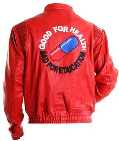 Akira Kaneda Embroidered Capsule Mens Red/Black Vintage Biker Leather Jacket #iFashions #BasicJacket