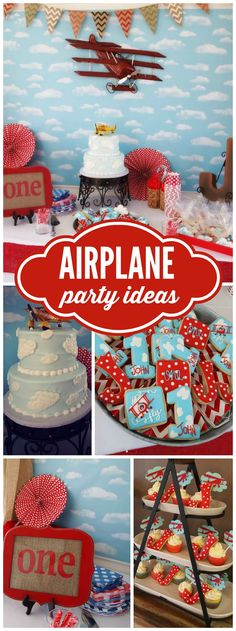 Time flies at this first birthday airplane party! See more party ideas at CatchMyParty.com!