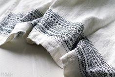 Blackwork embroidery on apron by Alicia Sivertsson. / Svartstick, broderi på förkläde av Alicia Sivertsson. Blackwork, Embroidery, Blanket, Crochet, Sweden, Inspiration, History, Dress, Diy