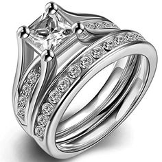 Stainless Steel Princess Cut Cubic Zirconia Wedding Engagement Ring Set Anniversary Propose Eternity Bridal Halo (7)...