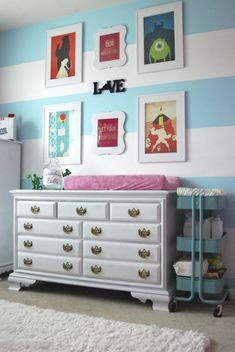 Disney Minimalist Wall Prints are a fab touch to this modern, colorful Disney-inspired Nursery!