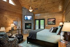 Interior, horizontal, master bedroom, Foster residence, Gallatin, Tennessee; Honest Abe Log Homes on Log Homes, Timber Frame and Log Cabins by Honest Abe  http://www.honestabe.com/social-gallery/arcd-9046-1