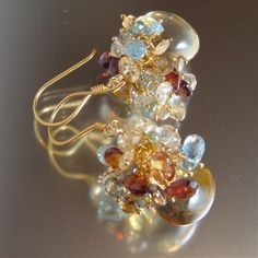 Yvette Earrings - Smooth Citrine Heart Briolettes with Sapphires, Imperial Topaz, Sky Blue Topaz, Prasiolite & Scapolite Frills