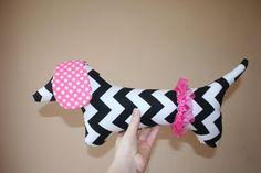 Dolly the Dachshund / plush dog / Children's Toy / Birthday Gift / Weiner Dog  / Baby Shower / EASTER. $22.50, via Etsy.