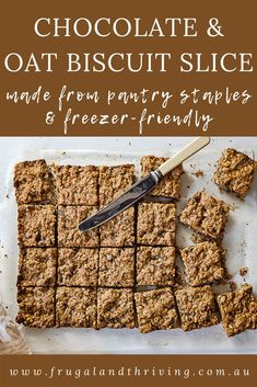 This choc oat biscuit slice is a delicious lunchbox treat as well as going great with a cuppa for a morning tea snack. It can also be frozen for later. #frugalbaking Frugal Recipes, Healthy Recipes On A Budget, Frugal Meals, Budget Meals, Baking Recipes, Tea Snacks, Chocolate Oatmeal, Cheap Dinners, Vegetarian Chocolate