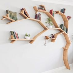The windswept oak tree bookshelf tree bookcase tree shaped bookshelf throug Tree Bookshelf, Tree Shelf, Bookshelf Design, Tree Book Shelves, Bookshelf Ideas, Creative Bookshelves, Book Tree, Creation Deco, Wooden Tree