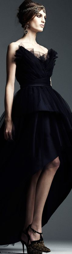 Alberta Ferretti | Pre-Fall 2104 add tulle to my thrift store black taffeta strapless wrap top dress.
