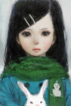 Sad little girl & her bunny....beautiful ~ artist unknown.