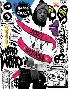 Words written makes reference to Joey Badass' career and background. Graphic Design Posters, Graphic Design Inspiration, New School Hip Hop, Hip Hop Artists, Grafik Design, Photo Illustration, Collage Art, Hiphop, Pose