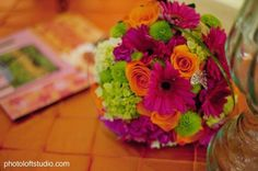 Fall Spring Summer Green Orange Pink Bouquet Wedding Flowers Photos & Pictures - WeddingWire.com