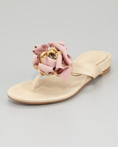 for the dancing    Blaine Woven Raffia Thong Sandal, Natural by Vera Wang Lavender at Neiman Marcus.