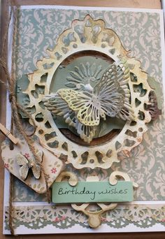 Card for Lauras birthday  with butterfly fridge magnet