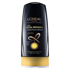 L'Oreal Paris Advanced Haircare Total Repair 5 Restoring Conditioner.  I borrowed this when I ran out of shampoo and discovered it is excellent. I have long, color treated hair that tangles easily and need a super moisturizing conditioner to tame the tangles and leave my hair shiny and frizz-free. I usually spend between $30 and $60 for conditioner. This L'Oreal product is as good as my $60 Aveda conditioner. Hello and Thank you very much.
