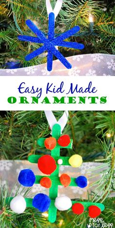 Just a few basic supplies needed for this easy Kid Made Christmas Ornaments. Your tree has never looked so good! Such a fun Christmas craft for kids! Kids Make Christmas Ornaments, Christmas Presents For Girls, Christmas Crafts For Toddlers, Christmas Gifts For Girlfriend, Whimsical Christmas, Preschool Christmas, Toddler Crafts, Diy Christmas Gifts, Winter Christmas