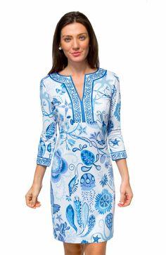 "Split Neck Jersey Dress - Sea of Love By Gretchen Scott Color: Blues - 35"" Length - ¾ Sleeves - Contrast Banding - Contrast Inside Back Panel - 4"" Hand Hem - 97% Polyester/3% Elastane - Machine Wash C"
