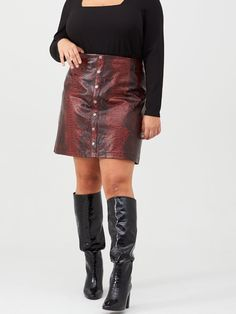 V By Very Curve Snake Print Pu Skirt - Red V by Very Curve PU Skirt Size & Fit True to size - order your usual size Fitted on the waist Model is Basic Tops, High Leg Boots, Long Toes, Snake Print, Dress Outfits, Leather Skirt, Sequin Skirt, Turtle Neck, Skirts