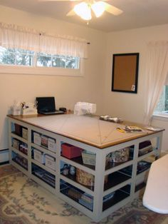 The Perfect Sewing/Cutting Table - Nähtisch Sewing Room Design, Craft Room Design, Sewing Spaces, My Sewing Room, Sewing Rooms, Sewing Studio, Craft Space, Sewing Room Organization, Craft Room Storage