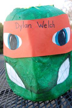 Milk jug craft Ninja Turtle-use as Valentines Container