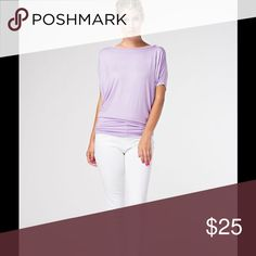 🆕lavender dolman top🌸 Short sleeve, beautiful lavender colored Dolman Top. Wear with your favorite leggings, jeans, pants, or skirt. A definite wardrobe staple. MADE IN THE USA 🇺🇸. 95% rayon 5% spandex. BRAND NEW BOUTIQUE RETAIL w/out tags. Small 4/6 Medium 8/10 Large 12/14 Tops Tees - Short Sleeve