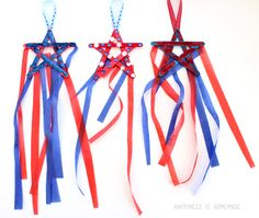 4th of July Patriotic Star Streamers Kids Craft with popsicle sticks, ribbon, buttons and glue   #FLVS #craft #MemorialDay
