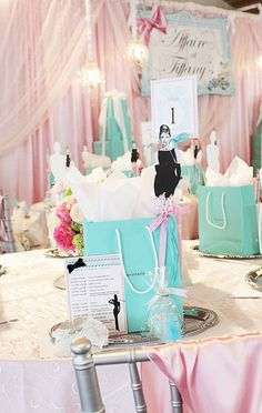 Breakfast at Tiffany's bridal shower. Could also use some ideas for baby showers and birthday parties.