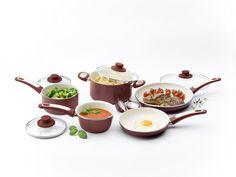 GreenPan Focus 10 Piece Aluminum Non-Stick Ceramic Cookware Set, Burgundy
