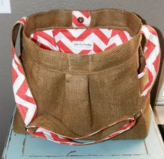 BURLAP and CHEVRON Girl or Boy Diaper Bag by LanaRaePurses on Etsy, $90.00