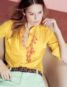 I want a leopard belt with a bright yellow shirt