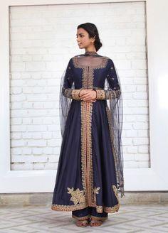 Navy blue A line suit with farshi pant - Kalkifashion Indian Anarkali, Anarkali Suits, Pakistani, Punjabi Fashion, Indian Fashion, Indian Suits, Indian Wear, Rimple And Harpreet Narula, Cute Fashion