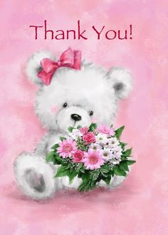 Thank You For Your Kindness, White Bear Holding Bunch of Pink Flowers card. Cards are shipped the Next Business Day. Thank You Pictures, Thank You Images, Cute Pictures, Thank You Wishes, Thank You Greetings, Teddy Bear Cartoon, Cute Teddy Bears, Teddy Bear Pictures, Blue Nose Friends
