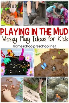 Playing in the mud is the perfect activity after a rainy day! No rain? No problem. Turn on the hose, and let kids get down and dirty with these mud play activities. fun activities Ideas for Playing in the Mud: Springtime Fun for Preschoolers Outdoor Activities For Kids, Outdoor Learning, Spring Activities, Sensory Activities, Sensory Play, Preschool Activities, Outdoor Play, Sensory Diet, Outdoor Education