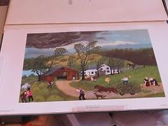 Vintage Grandma Moses Portfolio 8 Prints in holder, Published by Arts in America.  Original box has damaged corner.  Binder containing prints and biography are in excellent condition. See last photo to see sample print.  Prints are all in mint except upper left corner has been dinged. Note that it is outside of area where it would be seen when in frame, in my opinion.