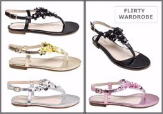 Ladies Sandals Womens Strappy Flats Floral Diamante Sandal Flat Shoe Summer Work #Unbranded #AnkleStraps #BeachCasual