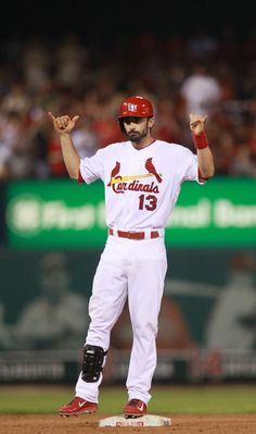 St. Louis Cardinals' Matt Carpenter reacts towards his dugout after driving in a run with a double in the fifth inning during a game between the St. Louis Cardinals and the Atlanta Braves on Thursday, Aug. 22, 2013, at Busch Stadium in St. Louis. Photo by Chris Lee, clee@post-dispatch.com