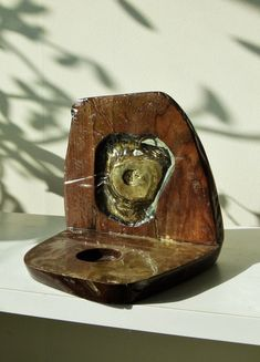 """Buy """"Golden Apple"""", Mixed-media sculpture by Iliya Novachev on Artfinder. Discover thousands of other original paintings, prints, sculptures and photography from independent artists. Golden Apple, Mixed Media Sculpture, Small Sculptures, Home Wall Decor, Walnut Wood, Wood And Metal, Original Paintings, Rings For Men, Artists"""