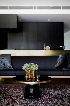 Architect_Prineas_Charcoal, Navy Brass Kitchen and Living Room- Deco!