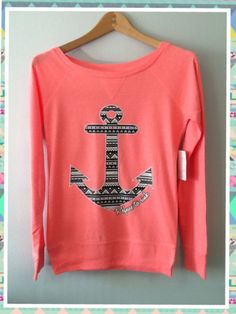 Long Sleeve Shirt Aztec Print Anchor Refuse To Sink