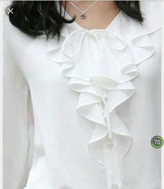 Fashion Ruffles Lady Translucent White Chiffon Shirts Size S-XL Most Popular Office Elegant Women Slim Casual Soft Blouse Blouse Styles, Blouse Designs, Bluse Outfit, Cool Outfits, Fashion Outfits, Casual Outfits, White Chiffon, Beautiful Blouses, Chiffon Shirt