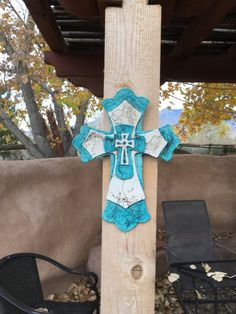 Wall hanging Religious Home Decor horsehair fired ceramic cross $55