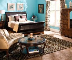 For me, there's nothing more calming than the juxtaposition of bright turquoise ocean blue & earthy tones of brown or cream... It's like escaping to the beach house every night, no matter the day I've had. Since I don't have said beach house, this will certainly suffice for now... =)