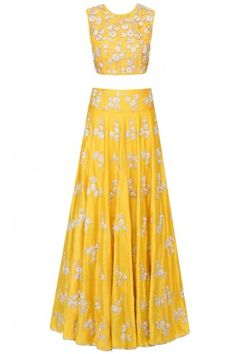 Payal Singhal presents Yellow nagmeh floral embroidered lehenga set available only at Pernia's Pop Up Shop. Lehenga Gown, Lengha Choli, Anarkali, Indian Dresses, Indian Outfits, Indian Clothes, Saris, Indiana, Bridal Lehenga Online
