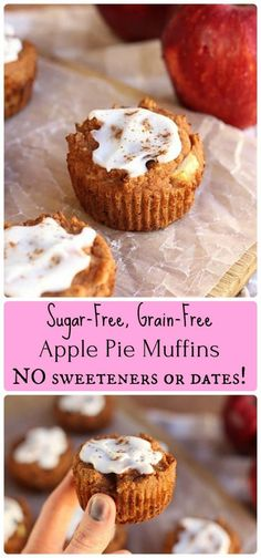 Apple Pie-Spiced Muffins - These delicious treats are LOW in carbs and contain no added sweeteners of any kind. {Paleo}