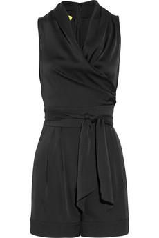 Black romper - This season's little black dress; totally cute and my new fashion obsession :)) Satin Playsuit, Designer Jumpsuits, Fashion Outlet, Women's Fashion, Catherine Malandrino, Black Romper, Chic Outfits, Dresses For Sale, My Style