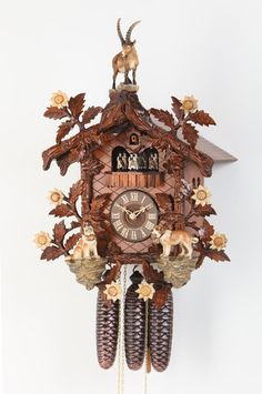 HEKAS BLACK FOREST CUCKOO CLOCK HAND PAINTED ST BERNARDS  ON OFFER  NEW TODAY