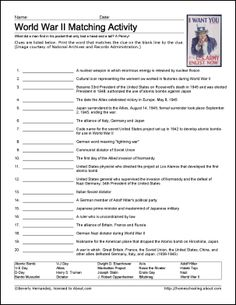 World War II Printables - World War II Vocabulary Worksheet...more info on WWII here too Kai.  Thought you may find out more on what interests you.