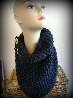 Chunky Thick Knit Cowl Neck Warmer Heather Grey with Neon Green Buttons. $30.00, via Etsy.