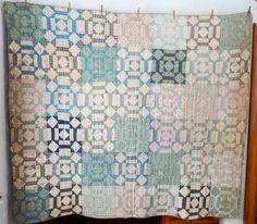 Antique Cutter Quilt Pastels Blocks Circa 1900 84 x 78
